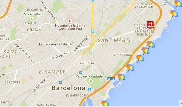 Barcelona har en lang kystlinje med mange strender