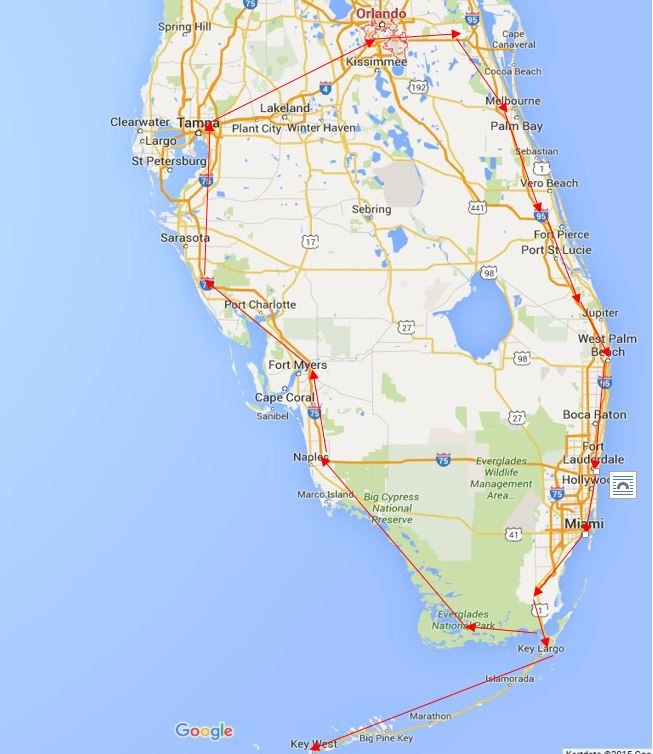 Ferie i USA og Florida, Miami, Key West, Everglades