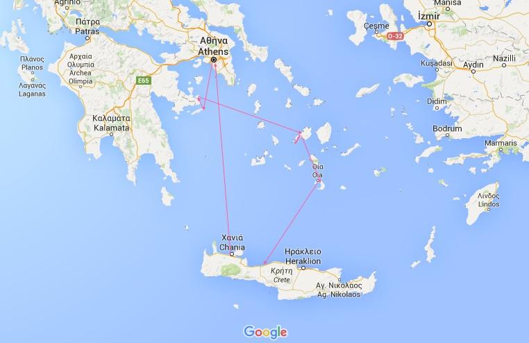 Slik så vår rundreise ut. Reisetips øyhopping Hellas
